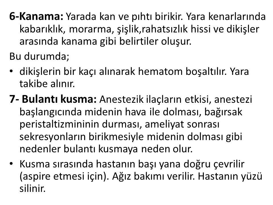 6-Kanama: Yarada kan ve pıhtı birikir.