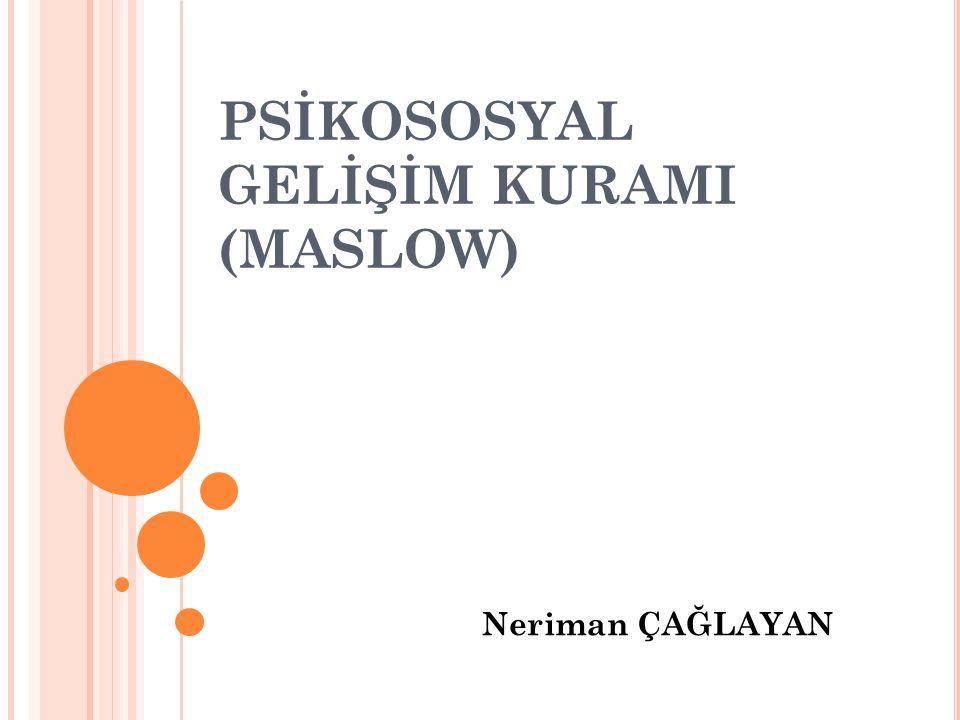 AMAÇ VE HEDEFLER: Amaç: Maslow'un Temel İnsan Gereksinimleri Kuramı'nın kavranmasını ve kuramın hemşireliğe olan etkisinin değerlendirilmesi.