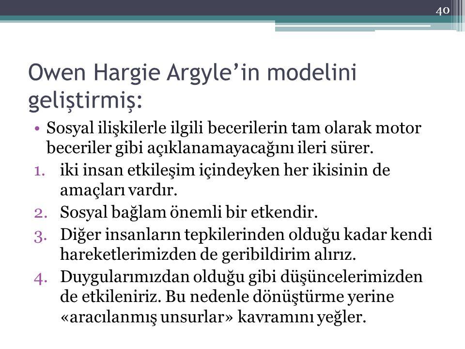 Owen Hargie Argyle'in modelini geliştirmiş: Sosyal ilişkilerle ilgili becerilerin tam olarak motor beceriler gibi açıklanamayacağını ileri sürer. 1.ik