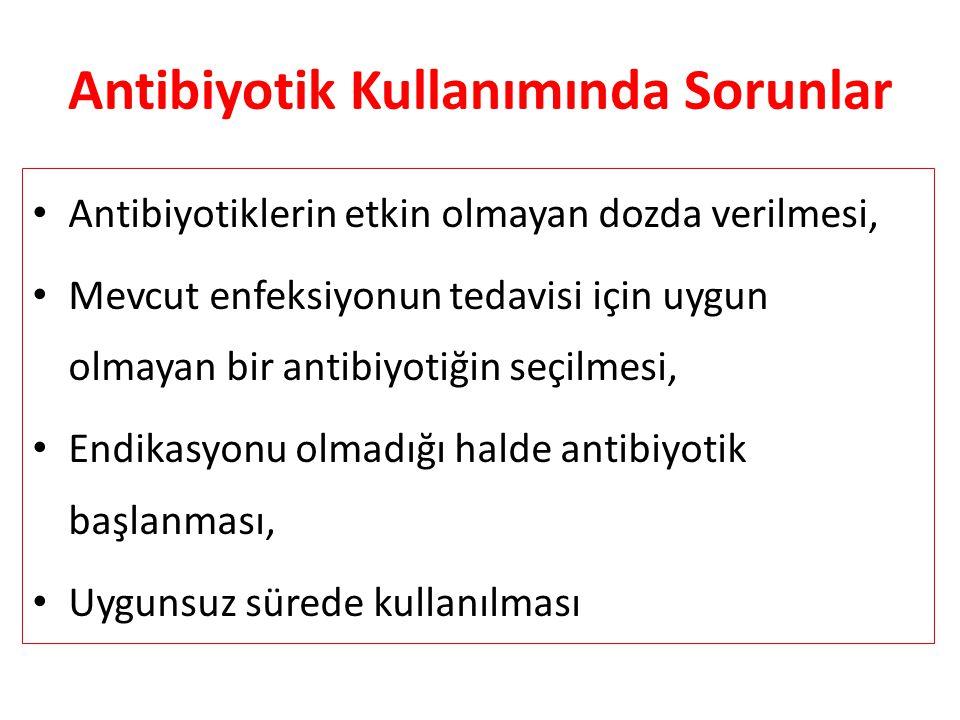 Antibiyotik Kullanımında Sorunlar Antibiyotiklerin etkin olmayan dozda verilmesi, Mevcut enfeksiyonun tedavisi için uygun olmayan bir antibiyotiğin seçilmesi, Endikasyonu olmadığı halde antibiyotik başlanması, Uygunsuz sürede kullanılması