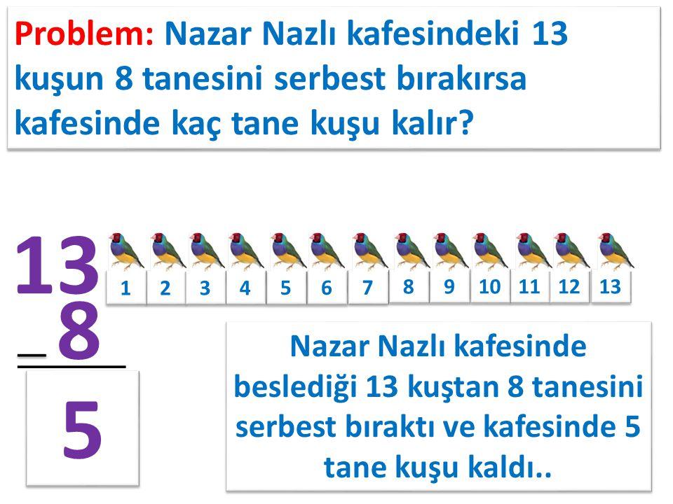 7 Problem: Mehmetcan okula getirdiği 7 mandalinanın 4 tanesini öğleyin yerse geriye kaç tane mandalinası kalır.