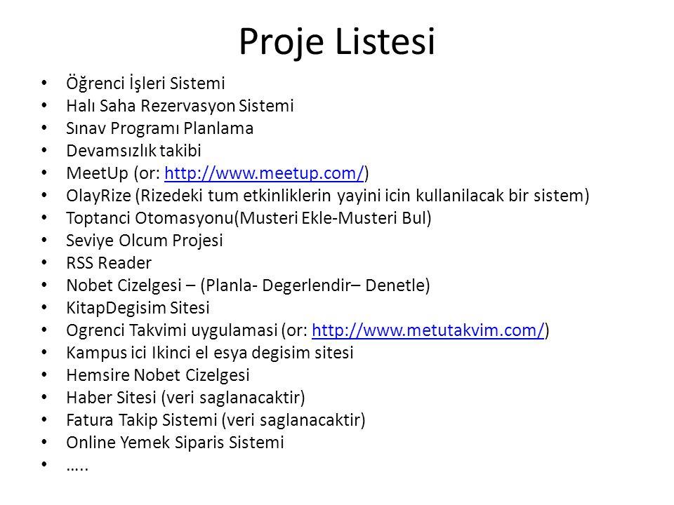 Proje Listesi Öğrenci İşleri Sistemi Halı Saha Rezervasyon Sistemi Sınav Programı Planlama Devamsızlık takibi MeetUp (or: http://www.meetup.com/)http: