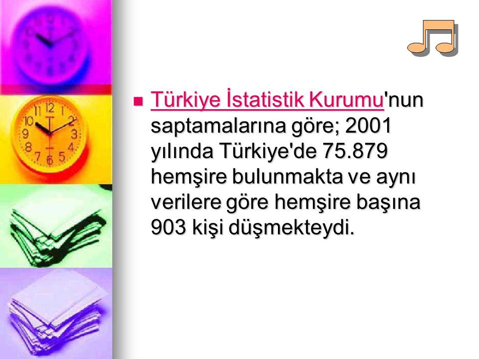 Türkiye İstatistik Kurumu'nun saptamalarına göre; 2001 yılında Türkiye'de 75.879 hemşire bulunmakta ve aynı verilere göre hemşire başına 903 kişi düşm
