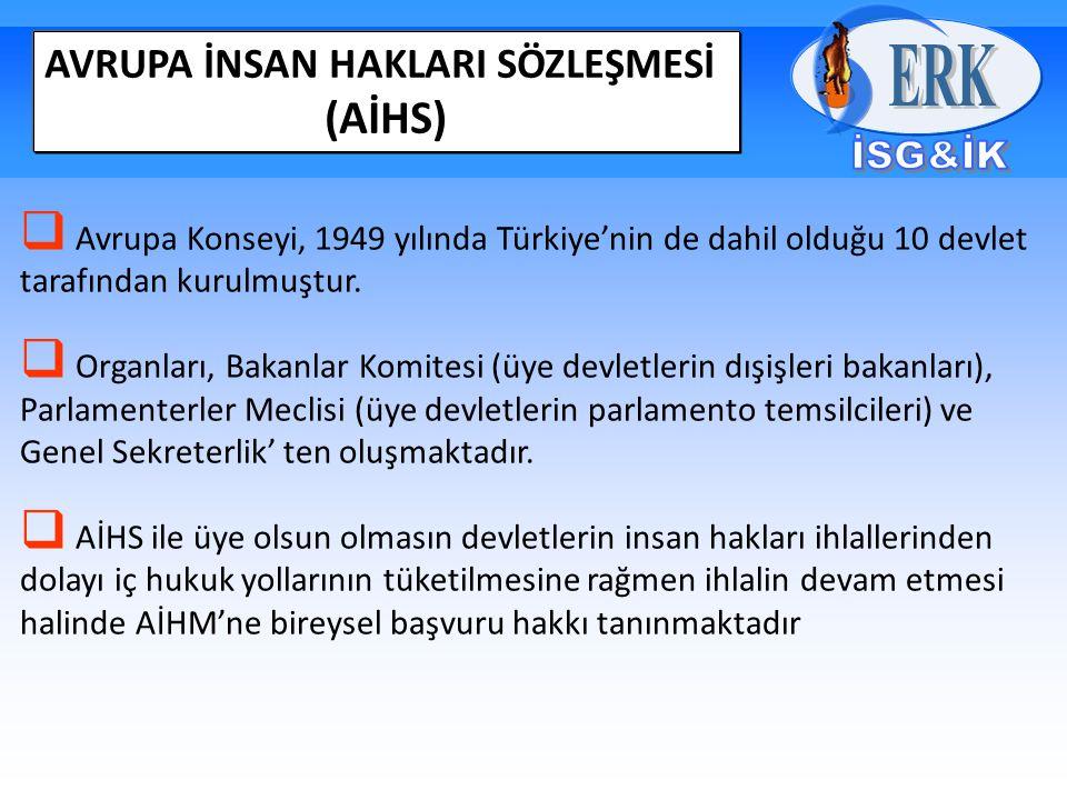 AVRUPA İNSAN HAKLARI SÖZLEŞMESİ (AİHS)  Avrupa Konseyi, 1949 yılında Türkiye'nin de dahil olduğu 10 devlet tarafından kurulmuştur.