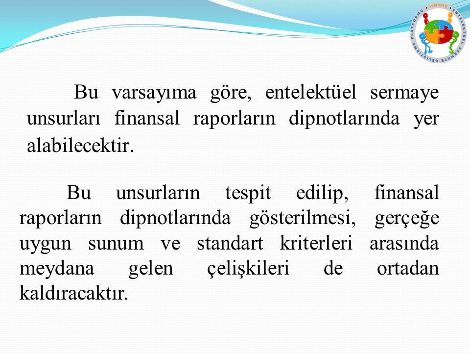 Bu varsayıma göre, entelektüel sermaye unsurları finansal raporların dipnotlarında yer alabilecektir.