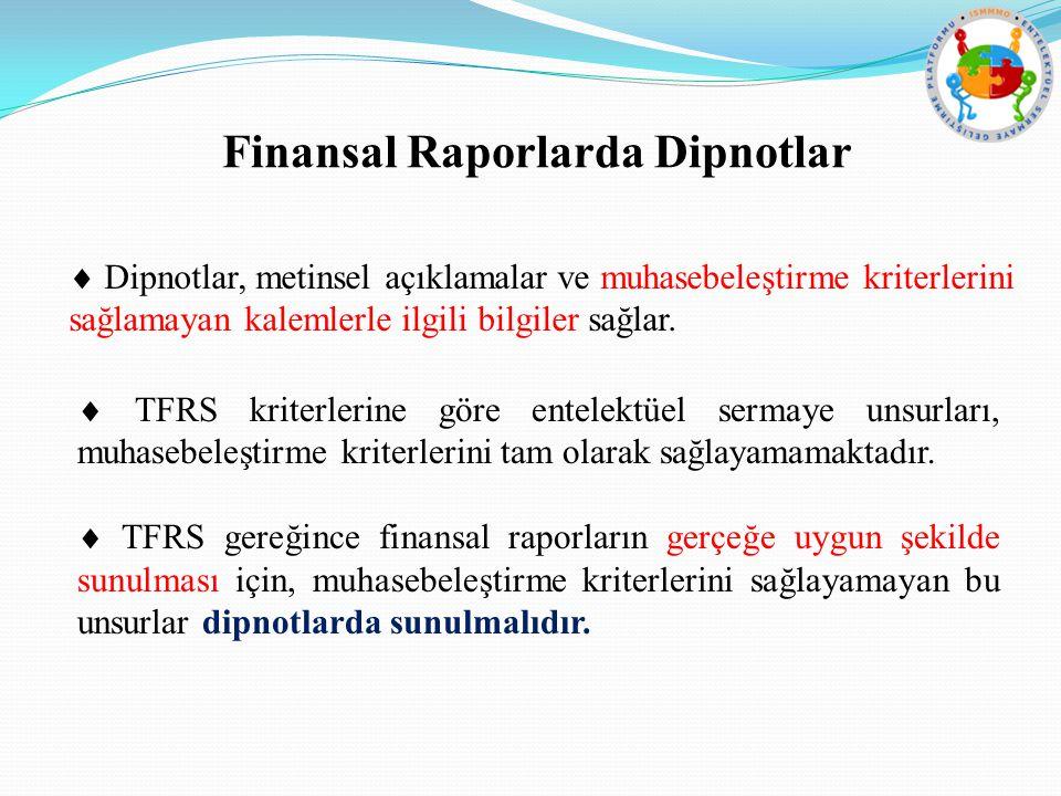 Finansal Raporlarda Dipnotlar  Dipnotlar, metinsel açıklamalar ve muhasebeleştirme kriterlerini sağlamayan kalemlerle ilgili bilgiler sağlar.