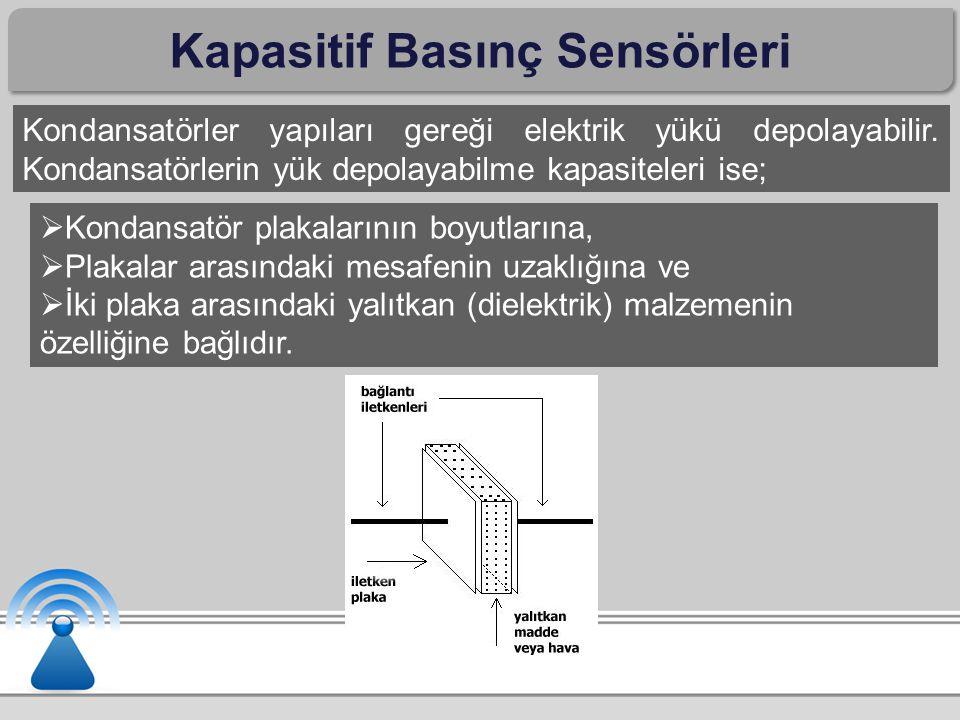 Kapasitif Basınç Sensörleri Kondansatörler yapıları gereği elektrik yükü depolayabilir. Kondansatörlerin yük depolayabilme kapasiteleri ise;  Kondans