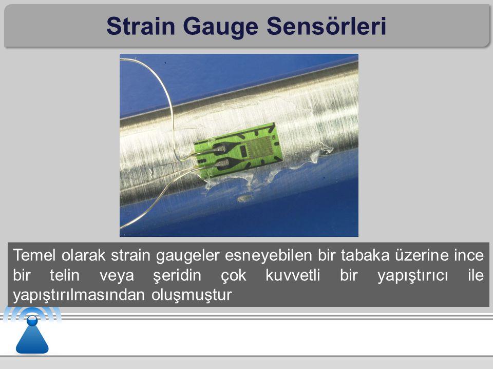 Strain Gauge Sensörleri Temel olarak strain gaugeler esneyebilen bir tabaka üzerine ince bir telin veya şeridin çok kuvvetli bir yapıştırıcı ile yapış