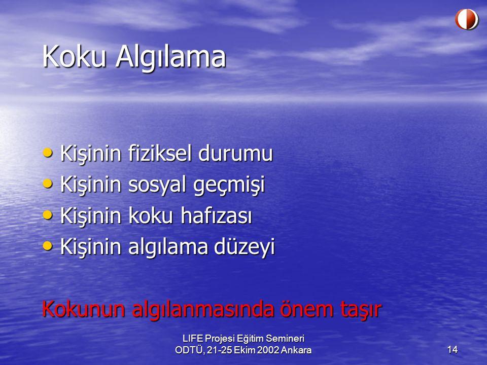 LIFE Projesi Eğitim Semineri ODTÜ, 21-25 Ekim 2002 Ankara14 Koku Algılama Kişinin fiziksel durumu Kişinin fiziksel durumu Kişinin sosyal geçmişi Kişin