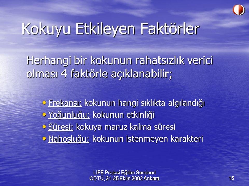 LIFE Projesi Eğitim Semineri ODTÜ, 21-25 Ekim 2002 Ankara15 Kokuyu Etkileyen Faktörler Herhangi bir kokunun rahatsızlık verici olması 4 faktörle açıkl