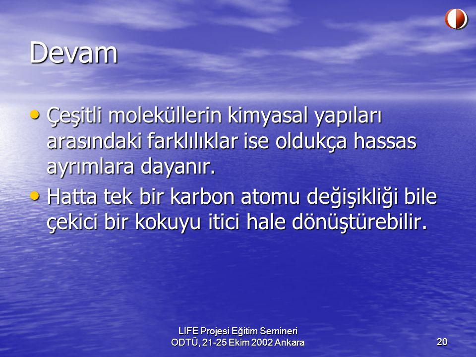 LIFE Projesi Eğitim Semineri ODTÜ, 21-25 Ekim 2002 Ankara20 Devam Çeşitli moleküllerin kimyasal yapıları arasındaki farklılıklar ise oldukça hassas ay