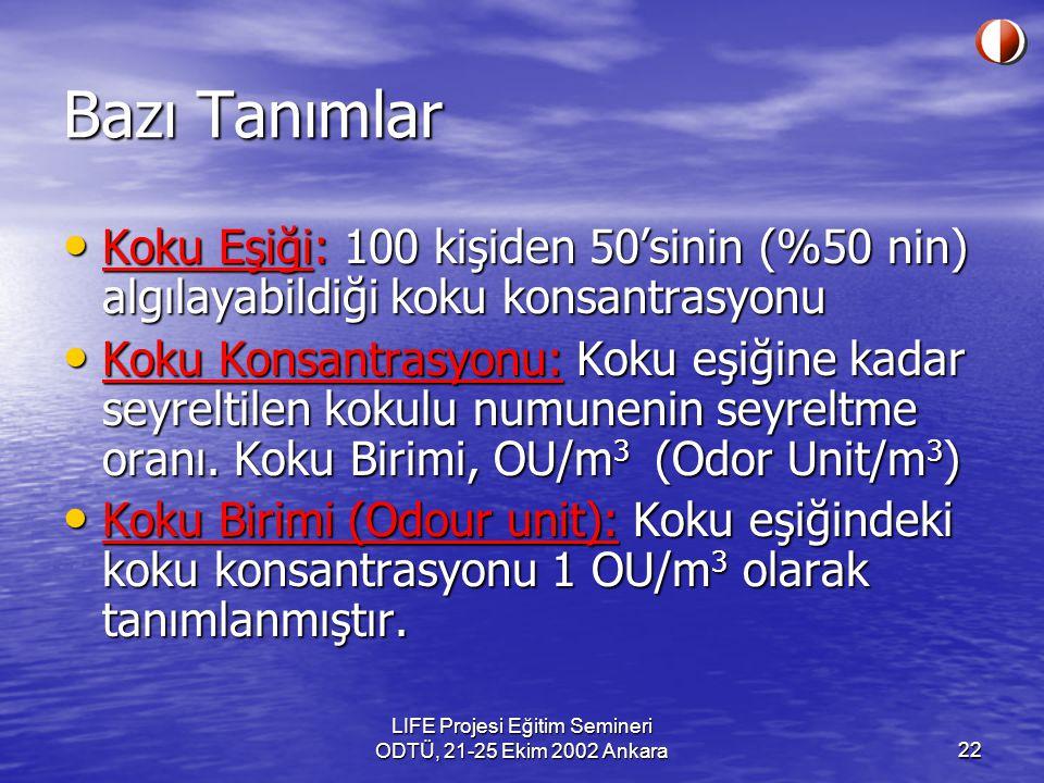 LIFE Projesi Eğitim Semineri ODTÜ, 21-25 Ekim 2002 Ankara22 Bazı Tanımlar Koku Eşiği: 100 kişiden 50'sinin (%50 nin) algılayabildiği koku konsantrasyo