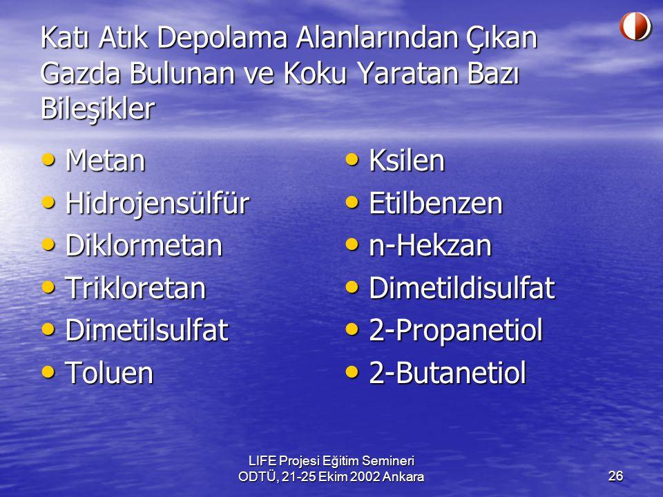 LIFE Projesi Eğitim Semineri ODTÜ, 21-25 Ekim 2002 Ankara26 Katı Atık Depolama Alanlarından Çıkan Gazda Bulunan ve Koku Yaratan Bazı Bileşikler Metan