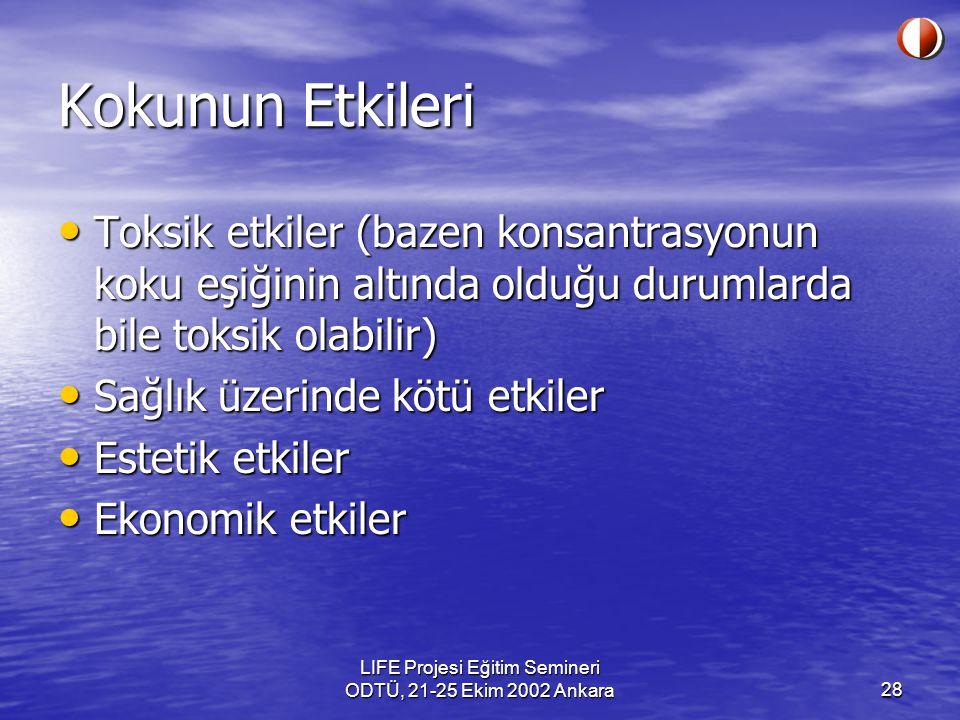 LIFE Projesi Eğitim Semineri ODTÜ, 21-25 Ekim 2002 Ankara28 Kokunun Etkileri Toksik etkiler (bazen konsantrasyonun koku eşiğinin altında olduğu duruml