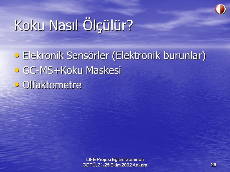 LIFE Projesi Eğitim Semineri ODTÜ, 21-25 Ekim 2002 Ankara29 Koku Nasıl Ölçülür? Elekronik Sensörler (Elektronik burunlar) Elekronik Sensörler (Elektro