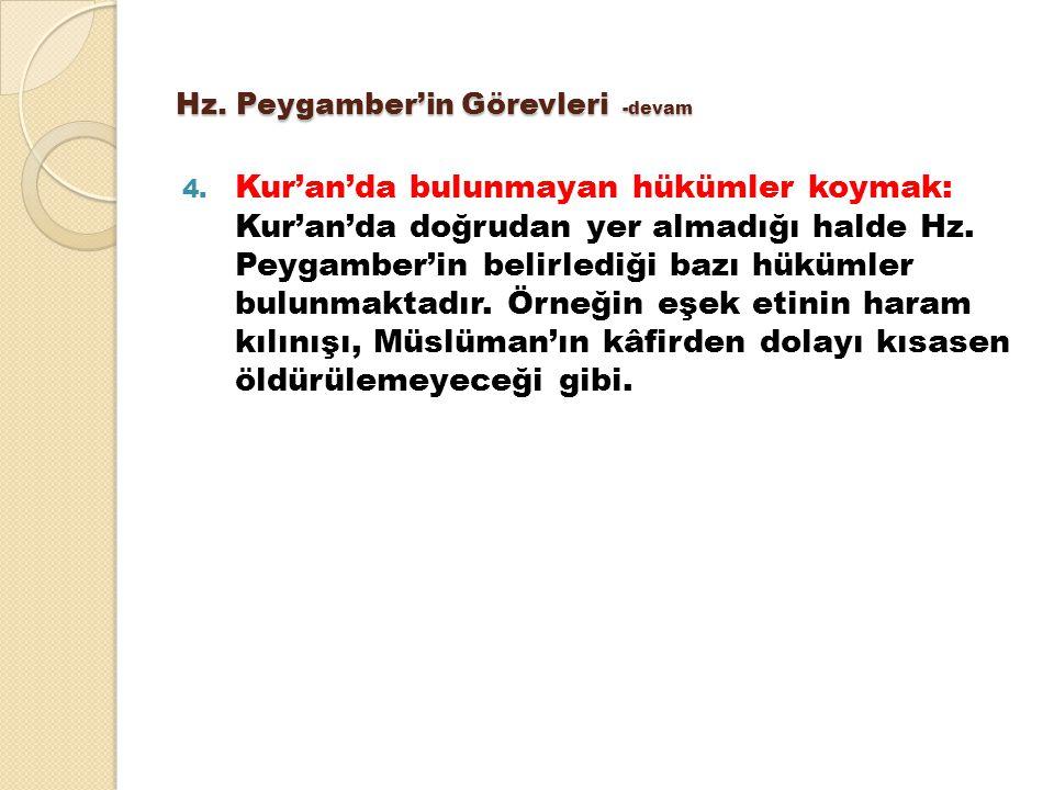 Hz. Peygamber'in Görevleri -devam 4. Kur'an'da bulunmayan hükümler koymak: Kur'an'da doğrudan yer almadığı halde Hz. Peygamber'in belirlediği bazı hük