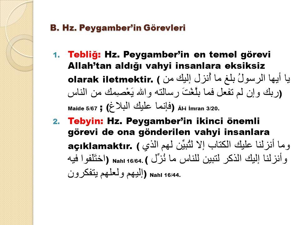 B. Hz. Peygamber'in Görevleri 1. Tebliğ: Hz. Peygamber'in en temel görevi Allah'tan aldığı vahyi insanlara eksiksiz olarak iletmektir. ( يا أيها الرسو