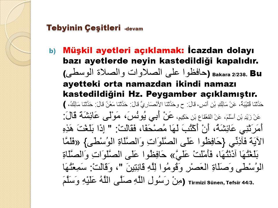 Tebyinin Çeşitleri -devam b) Müşkil ayetleri açıklamak: İcazdan dolayı bazı ayetlerde neyin kastedildiği kapalıdır. ( حافظوا على الصلاوات والصلاة الوس