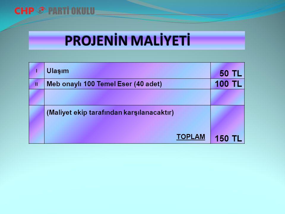 I Ulaşım 50 TL II Meb onaylı 100 Temel Eser (40 adet) 100 TL (Maliyet ekip tarafından karşılanacaktır) TOPLAM 150 TL