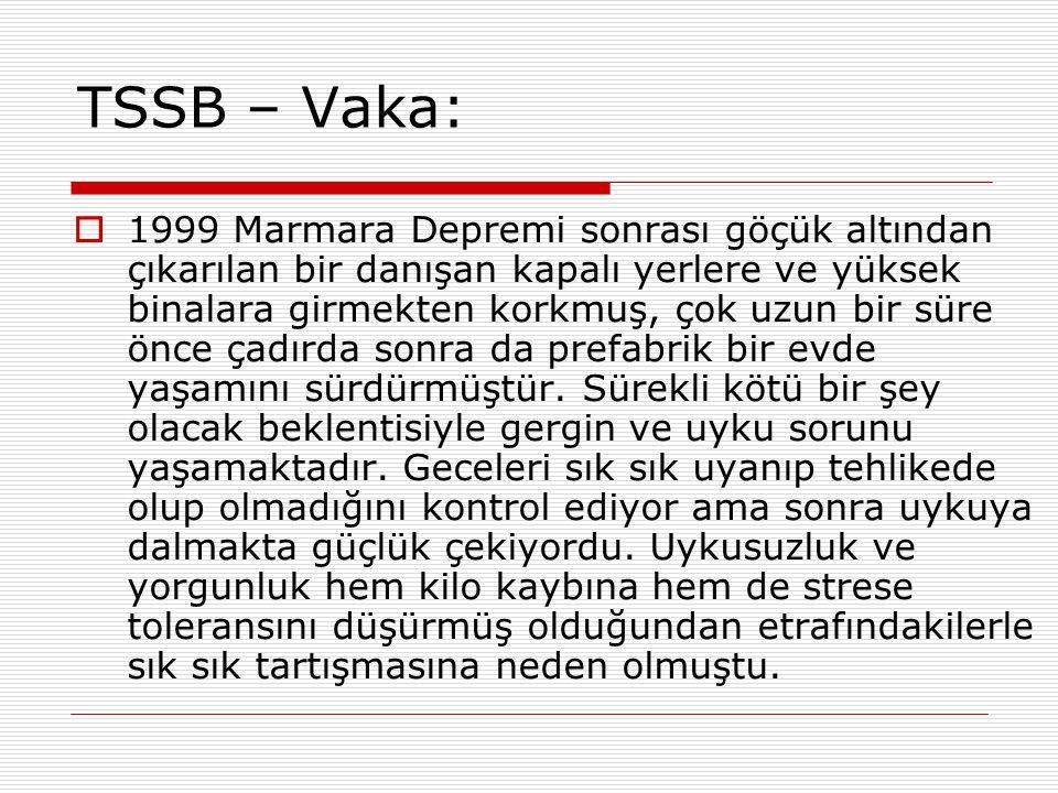 TSSB – Vaka:  1999 Marmara Depremi sonrası göçük altından çıkarılan bir danışan kapalı yerlere ve yüksek binalara girmekten korkmuş, çok uzun bir sür