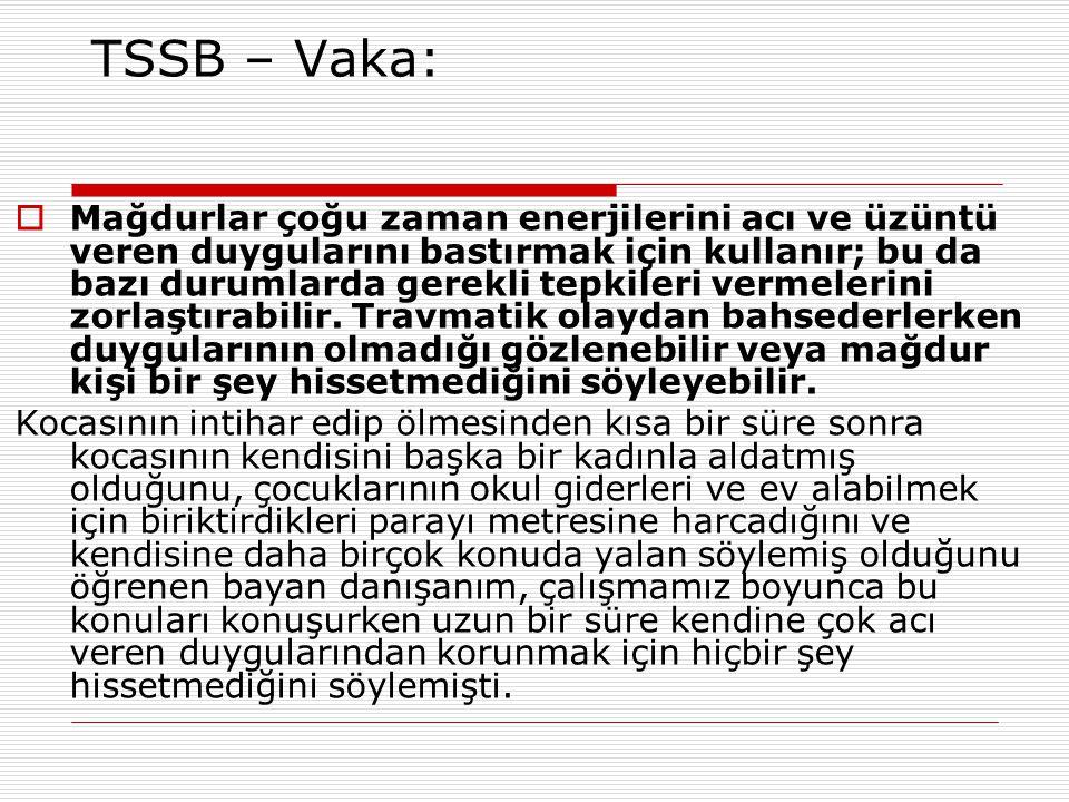 TSSB – Vaka:  Mağdurlar çoğu zaman enerjilerini acı ve üzüntü veren duygularını bastırmak için kullanır; bu da bazı durumlarda gerekli tepkileri verm