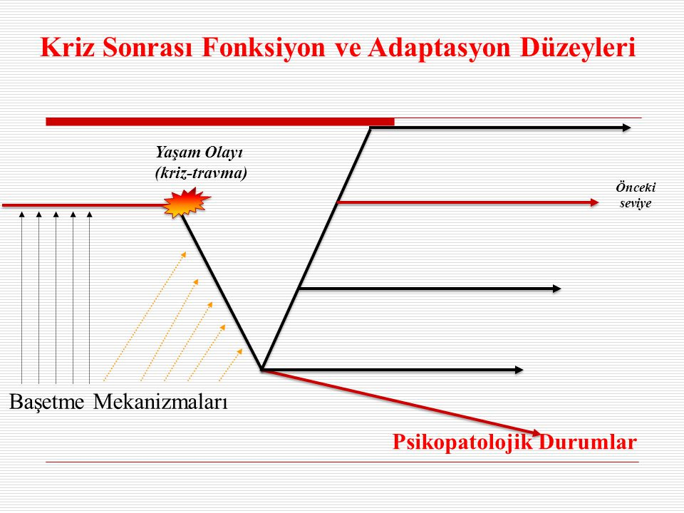 Yaşam Olayı (kriz-travma) Kriz Sonrası Fonksiyon ve Adaptasyon Düzeyleri Başetme Mekanizmaları Psikopatolojik Durumlar Önceki seviye