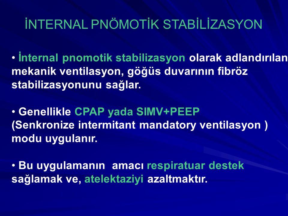 İnternal pnomotik stabilizasyon olarak adlandırılan mekanik ventilasyon, göğüs duvarının fibröz stabilizasyonunu sağlar.