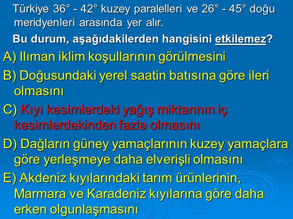 Türkiye 36° - 42° kuzey paralelleri ve 26° - 45° doğu meridyenleri arasında yer alır. Türkiye 36° - 42° kuzey paralelleri ve 26° - 45° doğu meridyenle
