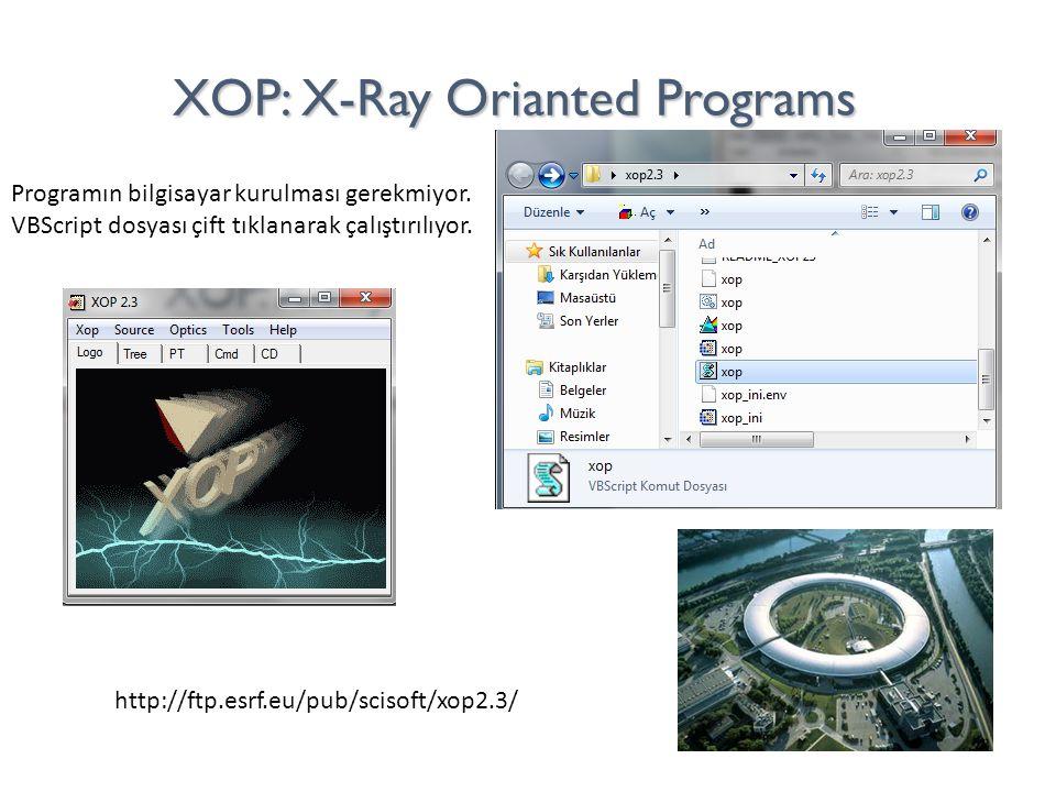 XOP: X-Ray Orianted Programs http://ftp.esrf.eu/pub/scisoft/xop2.3/ Programın bilgisayar kurulması gerekmiyor. VBScript dosyası çift tıklanarak çalışt