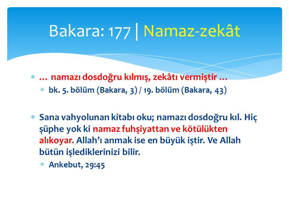  … namazı dosdoğru kılmış, zekâtı vermiştir …  bk.