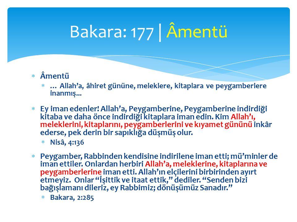  Âmentü  … Allah'a, âhiret gününe, meleklere, kitaplara ve peygamberlere inanmış...
