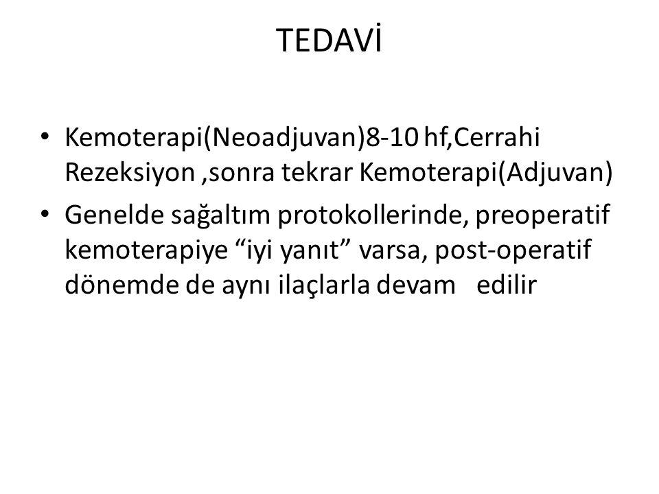 """TEDAVİ Kemoterapi(Neoadjuvan)8-10 hf,Cerrahi Rezeksiyon,sonra tekrar Kemoterapi(Adjuvan) Genelde sağaltım protokollerinde, preoperatif kemoterapiye """"i"""