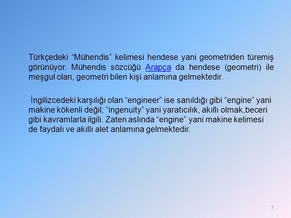 """Türkçedeki """"Mühendis"""" kelimesi hendese yani geometriden türemiş görünüyor. Mühendis sözcüğü Arapça da hendese (geometri) ile meşgul olan, geometri bil"""