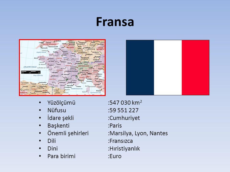 Fransa Yüzölçümü:547 030 km 2 Nüfusu:59 551 227 İdare şekli:Cumhuriyet Başkenti:Paris Önemli şehirleri :Marsilya, Lyon, Nantes Dili:Fransızca Dini:Hır