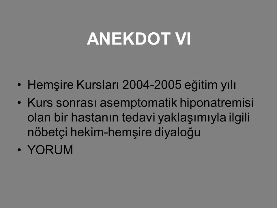 ANEKDOT VI Hemşire Kursları 2004-2005 eğitim yılı Kurs sonrası asemptomatik hiponatremisi olan bir hastanın tedavi yaklaşımıyla ilgili nöbetçi hekim-h