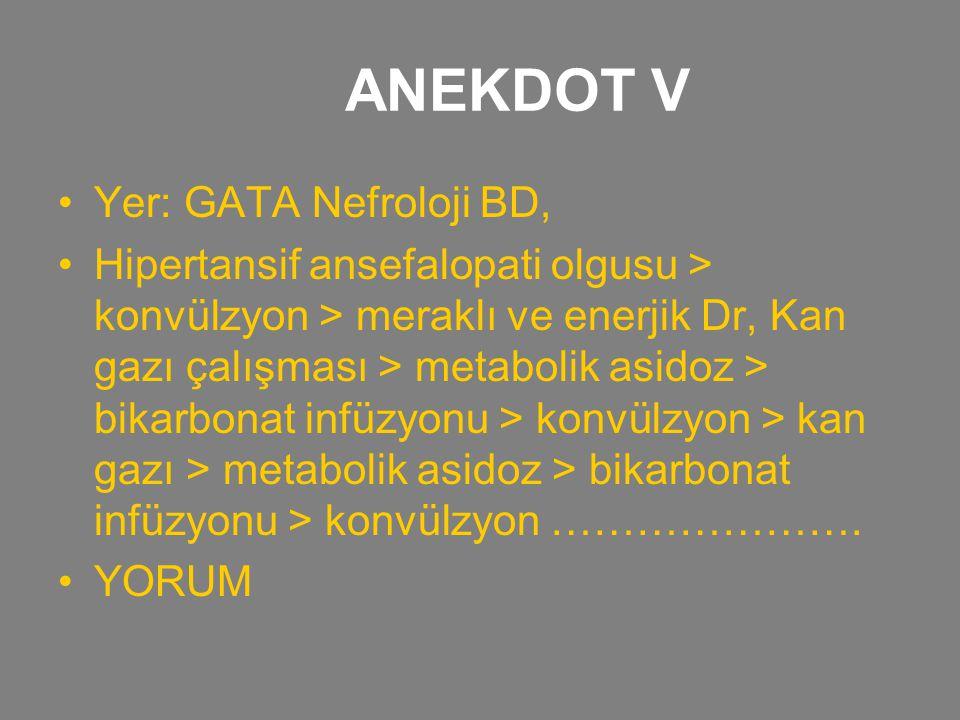 ANEKDOT V Yer: GATA Nefroloji BD, Hipertansif ansefalopati olgusu > konvülzyon > meraklı ve enerjik Dr, Kan gazı çalışması > metabolik asidoz > bikarb