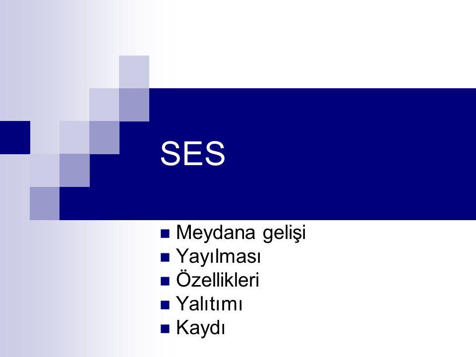 SES Meydana gelişi Yayılması Özellikleri Yalıtımı Kaydı