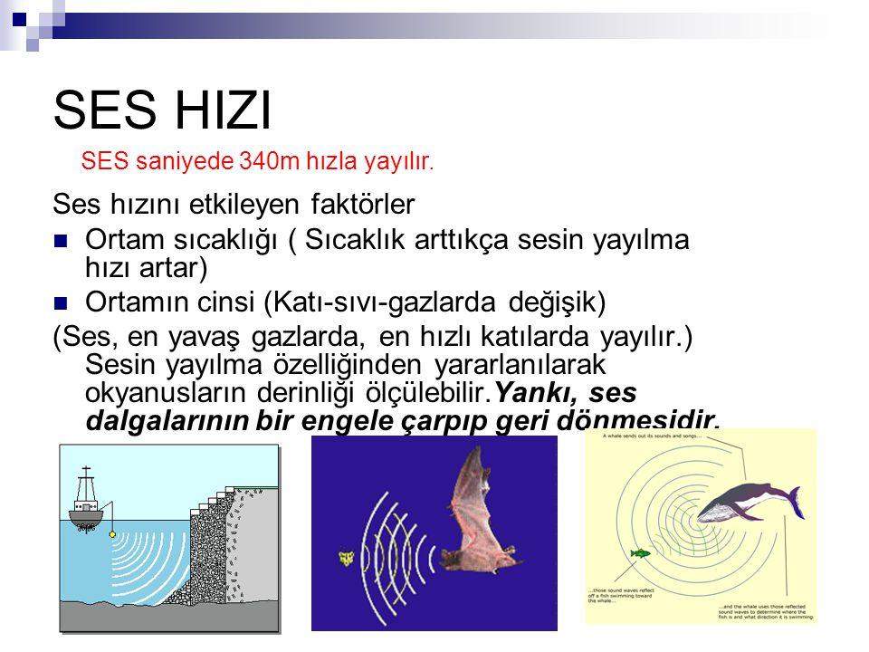 SES HIZI Ses hızını etkileyen faktörler Ortam sıcaklığı ( Sıcaklık arttıkça sesin yayılma hızı artar) Ortamın cinsi (Katı-sıvı-gazlarda değişik) (Ses,
