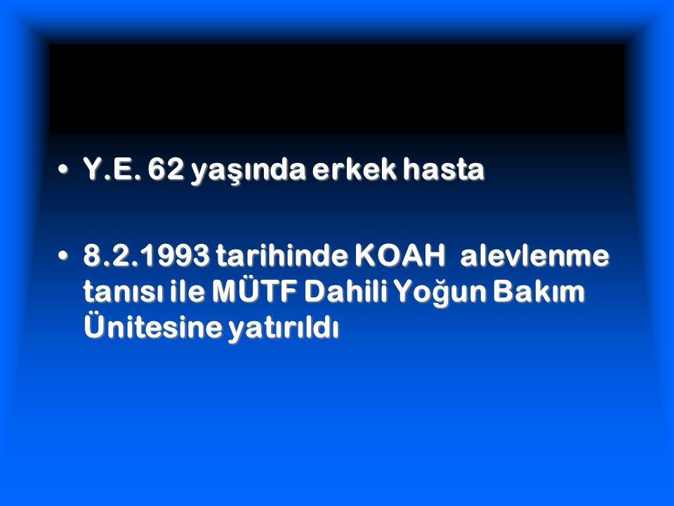 Y.E. 62 ya ş ında erkek hastaY.E. 62 ya ş ında erkek hasta 8.2.1993 tarihinde KOAH alevlenme tanısı ile MÜTF Dahili Yo ğ un Bakım Ünitesine yatırıldı8