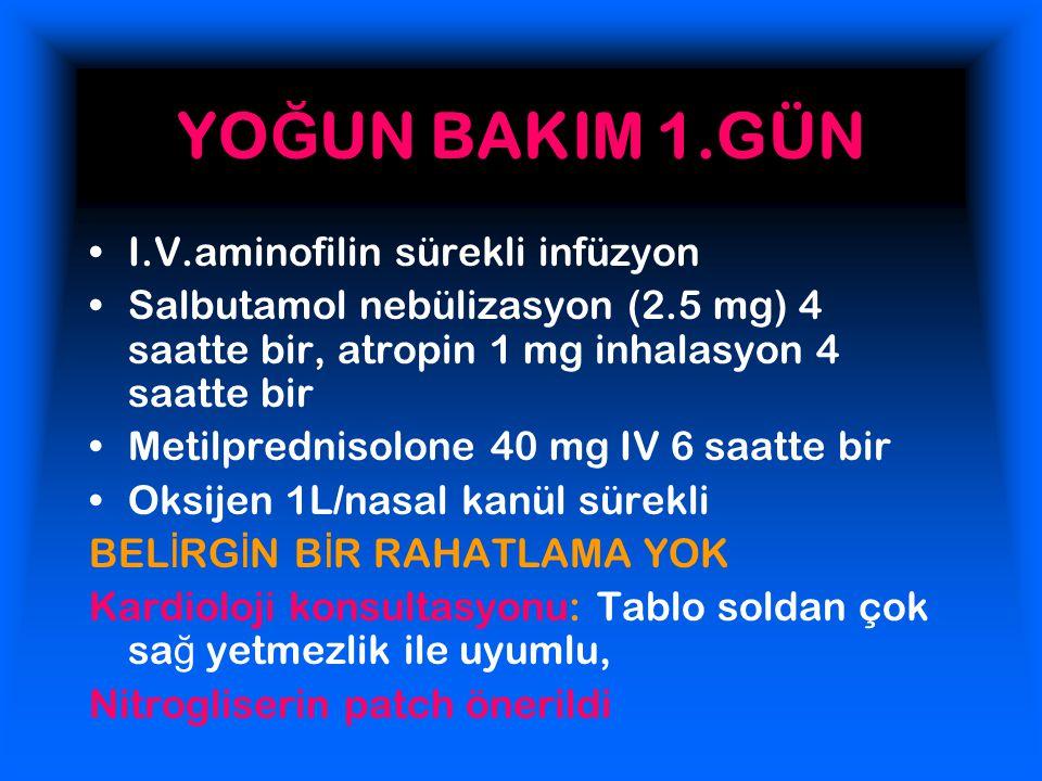 YO Ğ UN BAKIM 1.GÜN I.V.aminofilin sürekli infüzyon Salbutamol nebülizasyon (2.5 mg) 4 saatte bir, atropin 1 mg inhalasyon 4 saatte bir Metilprednisolone 40 mg IV 6 saatte bir Oksijen 1L/nasal kanül sürekli BEL İ RG İ N B İ R RAHATLAMA YOK Kardioloji konsultasyonu: Tablo soldan çok sa ğ yetmezlik ile uyumlu, Nitrogliserin patch önerildi