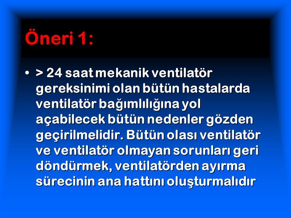Öneri 1: > 24 saat mekanik ventilatör gereksinimi olan bütün hastalarda ventilatör ba ğ ımlılı ğ ına yol açabilecek bütün nedenler gözden geçirilmelidir.