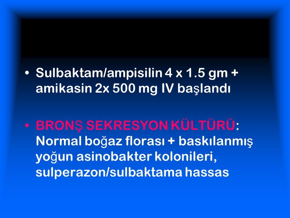 Sulbaktam/ampisilin 4 x 1.5 gm + amikasin 2x 500 mg IV ba ş landı BRON Ş SEKRESYON KÜLTÜRÜ: Normal bo ğ az florası + baskılanmı ş yo ğ un asinobakter kolonileri, sulperazon/sulbaktama hassas