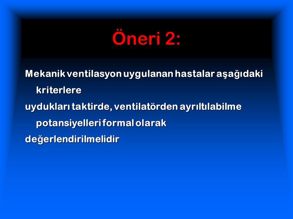 Öneri 2: Mekanik ventilasyon uygulanan hastalar a ş a ğ ıdaki kriterlere uydukları taktirde, ventilatörden ayrıltılabilme potansiyelleri formal olarak