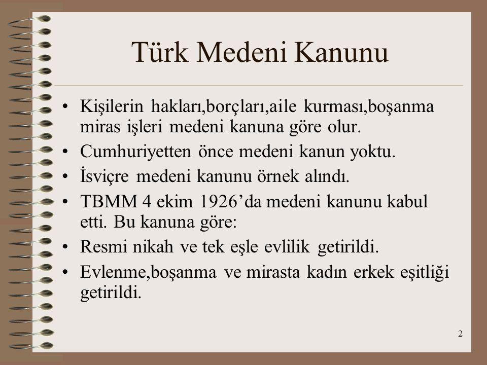 2 Türk Medeni Kanunu Kişilerin hakları,borçları,aile kurması,boşanma miras işleri medeni kanuna göre olur.