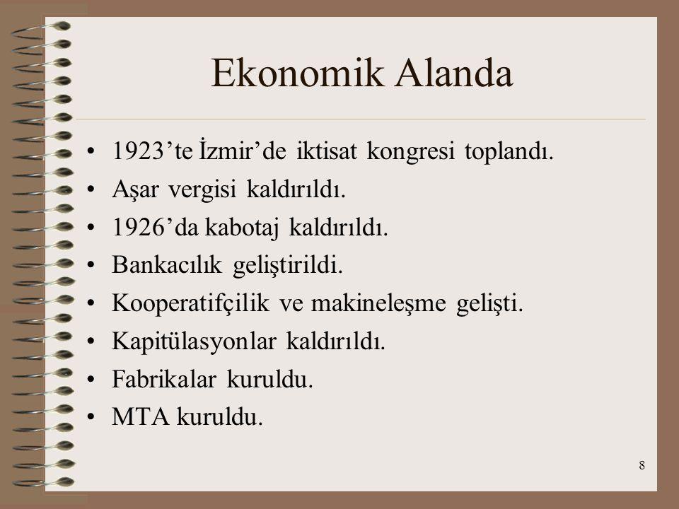 8 Ekonomik Alanda 1923'te İzmir'de iktisat kongresi toplandı.