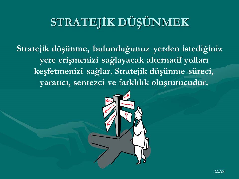 22/64 STRATEJİK DÜŞÜNMEK Stratejik düşünme, bulunduğunuz yerden istediğiniz yere erişmenizi sağlayacak alternatif yolları keşfetmenizi sağlar. Stratej