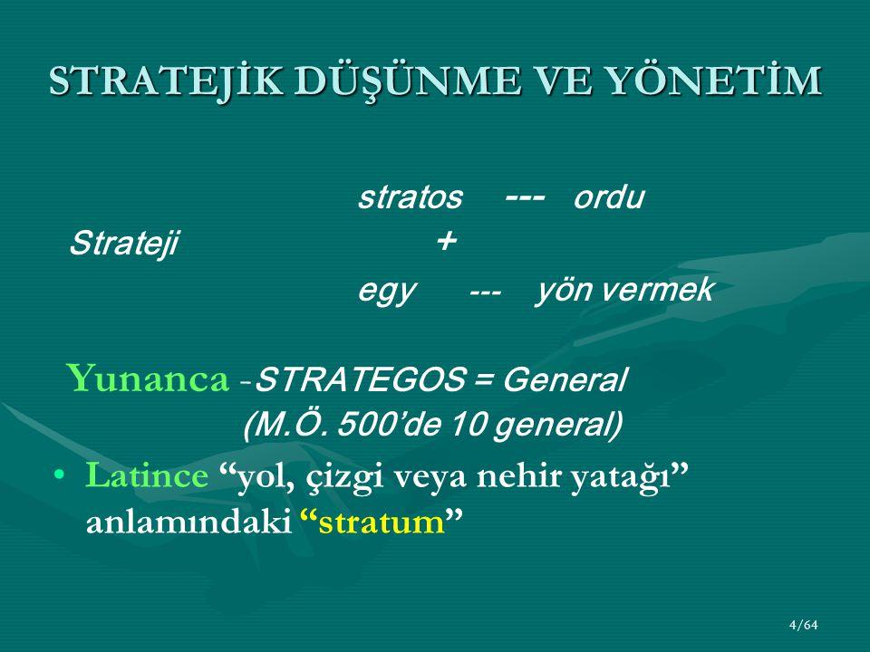 4/64 STRATEJİK DÜŞÜNME VE YÖNETİM Latince yol, çizgi veya nehir yatağı anlamındaki stratum stratos --- ordu Strateji + egy --- yön vermek Yunanca - STRATEGOS = General (M.Ö.