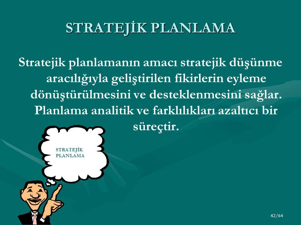 42/64 STRATEJİK PLANLAMA Stratejik planlamanın amacı stratejik düşünme aracılığıyla geliştirilen fikirlerin eyleme dönüştürülmesini ve desteklenmesini sağlar.