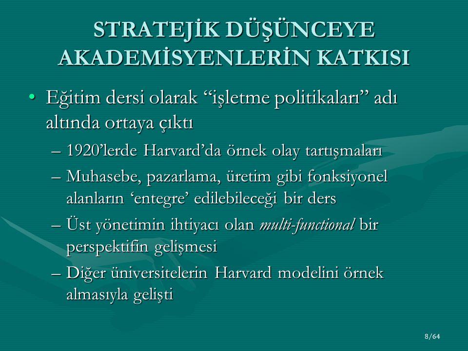 8/64 STRATEJİK DÜŞÜNCEYE AKADEMİSYENLERİN KATKISI Eğitim dersi olarak işletme politikaları adı altında ortaya çıktıEğitim dersi olarak işletme politikaları adı altında ortaya çıktı –1920'lerde Harvard'da örnek olay tartışmaları –Muhasebe, pazarlama, üretim gibi fonksiyonel alanların 'entegre' edilebileceği bir ders –Üst yönetimin ihtiyacı olan multi-functional bir perspektifin gelişmesi –Diğer üniversitelerin Harvard modelini örnek almasıyla gelişti