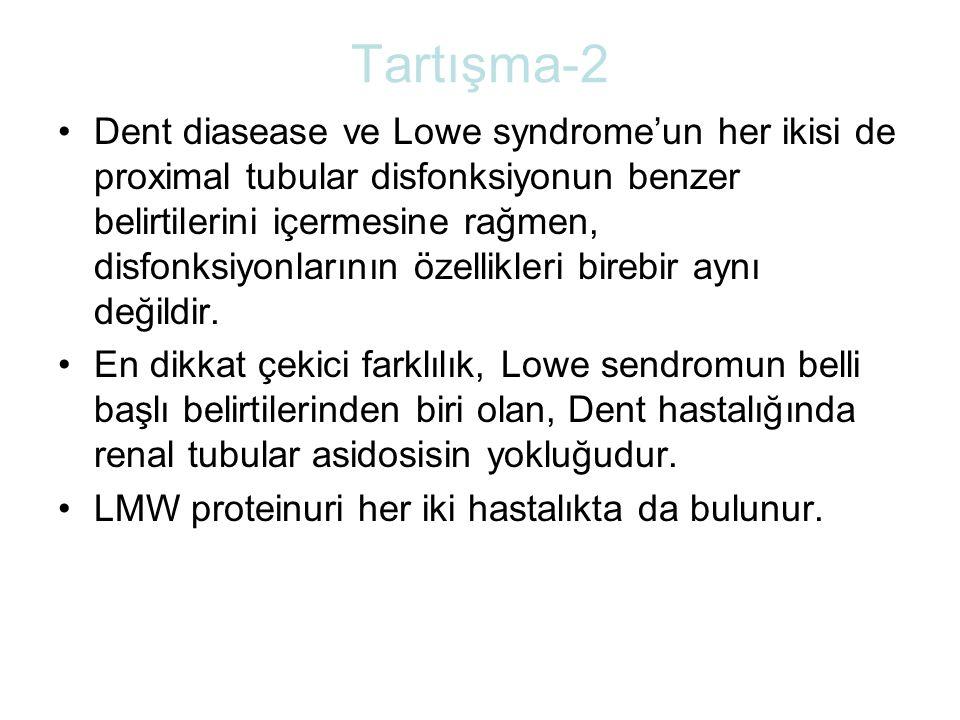 Tartışma-2 Dent diasease ve Lowe syndrome'un her ikisi de proximal tubular disfonksiyonun benzer belirtilerini içermesine rağmen, disfonksiyonlarının